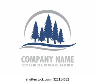 blue pine fir coniferous jungle forest nature silhouette logo icon image