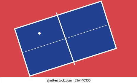 Blue ping-pong table with white ball on red background. Table tennis. Flat design. Vector illustration.