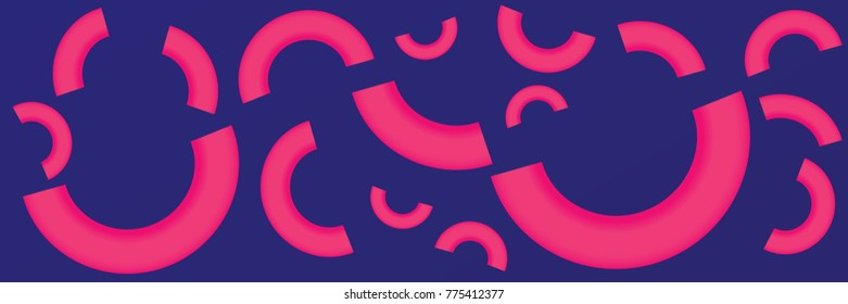 a blue and pink abstract background design with half circles style. pink and blue half circles background. vector. illustration.