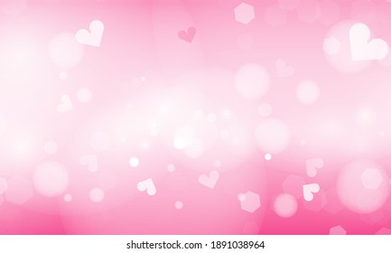 Blue and pink abstract blurred background with blur bokeh light effect for wedding vector Happy Valentine's day card hearts poster design.