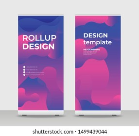 Blue pink Abstract Shapes Modern Exhibition Advertising Trend Business Roll Up Banner Stand Poster Brochure flat design template creative concept. Blue pink Roll Up EPS. Presentation Cover