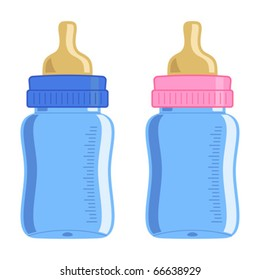 Blue and pink baby bottle over white background
