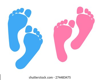 Blue and pink Baby footprint. Vector Illustration.