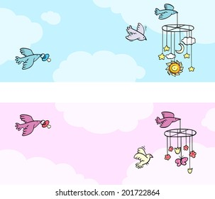 Blue and pink banners with birds carrying a baby's dummy and mobiles. Vector illustration.