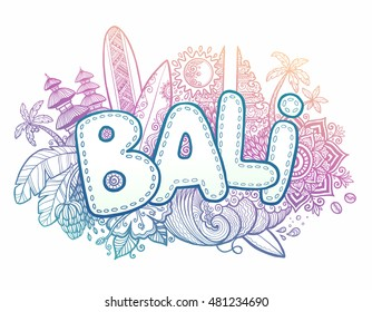 Blue and pink colors vector Bali sign on hand drawn doodle style symbols of Bali island: temples, flowers, palms, waves and surfing boards