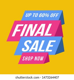 blue and pink Final sale banner, up to 60% off. Vector illustration.