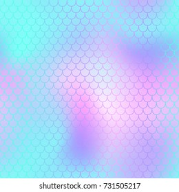 Blue pink fish skin vector background with scale pattern. Mermaid pattern. Vivid gradient. Abstract blurry vector background. Fish skin seamless pattern. Mermaid scale background. Shiny fishscale