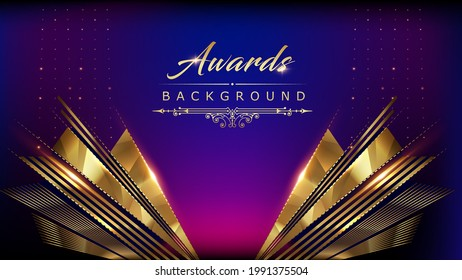 Blue Pink Golden Shimmer Awards Graphics Background Polygon Celebration Entertainment Light Stripe Template Frame Line Luxury Premium Corporate Abstract Design Template Banner Certificate - Shutterstock ID 1991375504