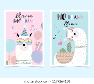 Blue pink hand drawn cute card with llama, glasses,cactus in summer.No drama llama, Llama not drama