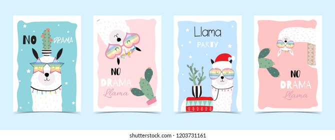 Blue pink hand drawn cute card with llama, glasses,cactus in christmas.No drama llama