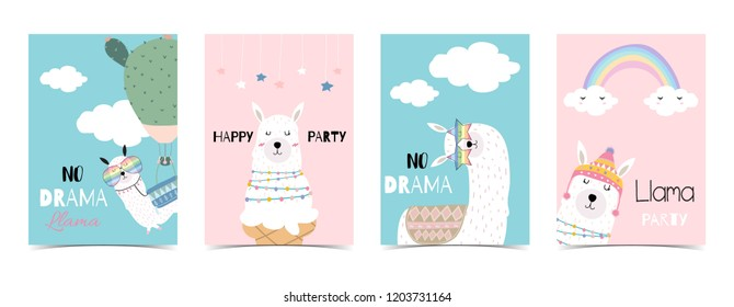 Blue pink hand drawn cute card with llama, star glasses,cactus and rainbow.No drama llama
