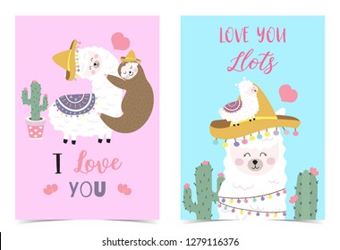 Blue pink hand drawn cute card with llama,sloth,hat,heart.I love you.Love you llots