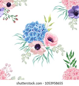 Blue and pink hydrangea flowers seamless pattern with eucalyptus, dry flowers, berry branch. Wedding watercolor  romantic design  in rustic elegant style.