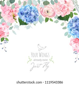 Blue and pink hydrangea, rose, ranunculus, carnation flowers, eucalyptus and greenery vector design card. Elegant summer wedding invitation frame. Floral banner.All elements are isolated and editable.