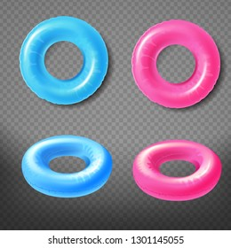Blue and pink inflatable rings top, front view 3d realistic vector icons set isolated on transparent background. Water park swimming pool toy illustration. Summer beach leisure concept design elements