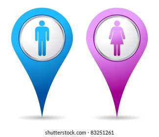 blue and pink location woman men icon