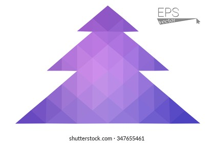 Blue, pink low poly style christmas tree vector illustration consisting of triangles. Abstract triangular polygonal origami or crystal design of New Years celebration. Isolated on white background