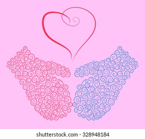 Blue and pink mittens and a vintage heart. A symbol of love. Vector illustration