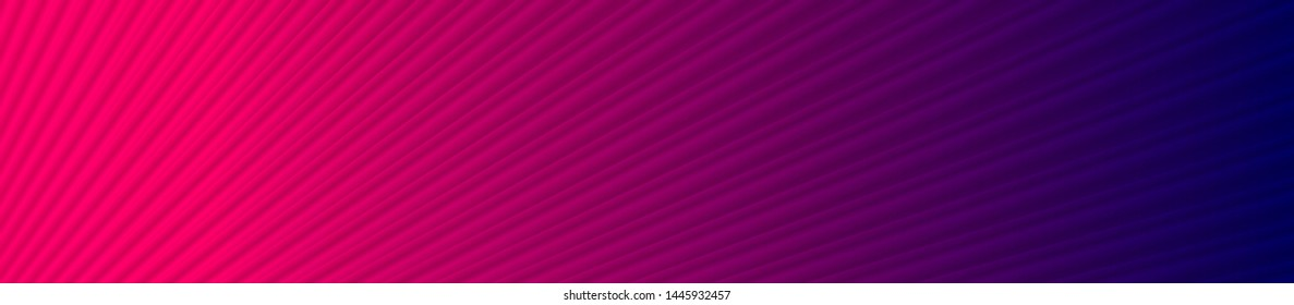 Blue pink neon abstract banner template with smooth striped texture. Vibrant lines vector decoration, web header layout background
