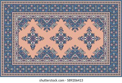 Blue and pink oriental mosaic Bokhara rug with traditional folk geometric ornament. Carpet border frame pattern. Vector 10 EPS illustration.