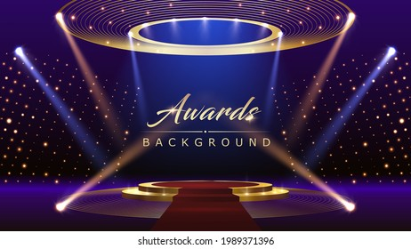 Blue Pink Red Golden Stage Spotlights Awards Graphics Background Celebration. Red Carpet Entry Show. Entertainment Hollywood Bollywood Template Design. Awards Background Theater Drama Steps Floor.
