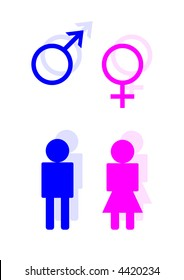Blue and pink toilet symbols for male and female
