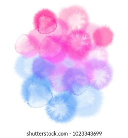 Blue pink watercolor