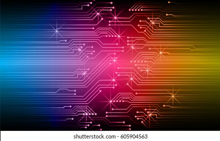 Blue pink yellow cyber security concept background. Circuit