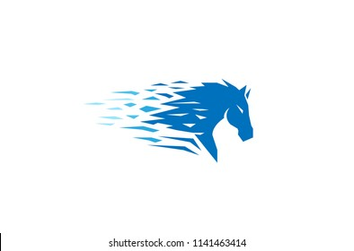 Blue Pixel Abstract Horse Head Logo Symbol Vector Design Illustration