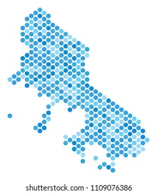 Blue pixelated Skyros Greek Island map. Vector geographic map in cold blue color shades on a white background. Vector composition of Skyros Greek Island map designed of round dot pattern.