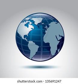 Blue planet over blue background, Vector Illustration