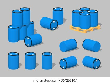 Blue plastic barrels. 3D lowpoly isometric vector illustration. The set of objects isolated against the grey background and shown from different sides