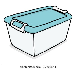 blue plastic box / cartoon vector and illustration, hand drawn style, isolated on white background.