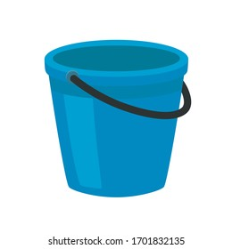 Blue plastic bucket with a black handle. Isolated white background. A bucketful for washing food, water and drink. Household chores pail.