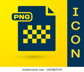 Blue PNG file document. Download png button icon isolated on yellow background. PNG file symbol.  Vector Illustration