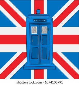 Blue police box on the Union Jack