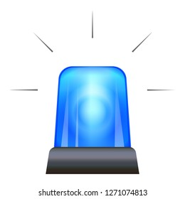 Blue police flasher icon. Cartoon of blue police flasher vector icon for web design isolated on white background