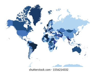Blue political map of the world. Detailed map of all countries in the world.
