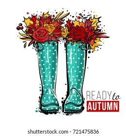 Blue polka-dot wellies with flowers and ready to autumn text. Vector illustration in watercolor style. Background for decoration seasonal celebration, fabrics, textile, greeting card and web banner.