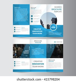 Blue polygon elegance business trifold business Leaflet Brochure Flyer template vector minimal flat design set