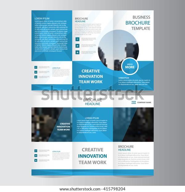 Blue polygon elegance business trifold business Leaflet Brochure Flyer template vector minimal flat design set
