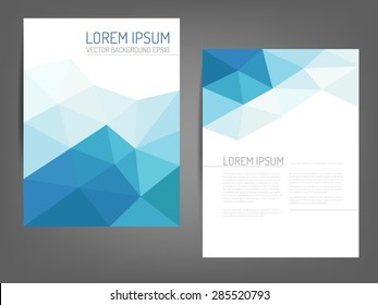 Blue polygonal brochure template flyer background design for A4 paper size with white space for text and message design