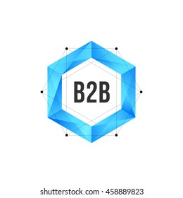Blue polygonal hexagon icon with mesh, dots and B2B text. Geometric logo vector design concept isolated on white background