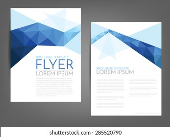 Blue polygonal line brochure template flyer background design for A4 paper size with white space for text and message design