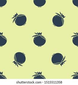 Blue Pomegranate icon isolated seamless pattern on yellow background. Garnet fruit.  Vector Illustration