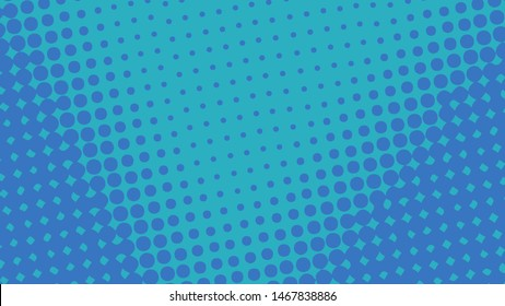 Blue pop art background with dots design, abstract vector illustration in retro comics style