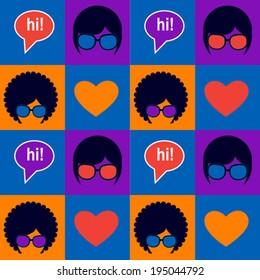 blue pop art pattern