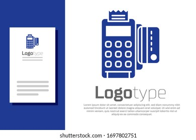 Blue POS terminal with inserted credit card and printed reciept icon isolated on white background. NFC payment concept. Logo design template element. Vector Illustration