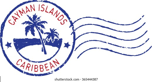 Blue postal grunge stamp ''Cayman islands-Caribbean'. White background.