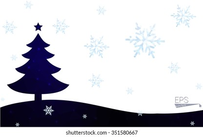 Blue postcard low polygon style christmas tree vector illustration consisting of triangles.Abstract triangular polygonal origami or crystal design of New Years celebration.Isolated on white background